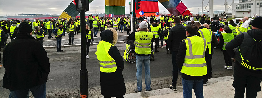 Demonstration der Gilets Jaunes in Le Havre, Januar 2019.