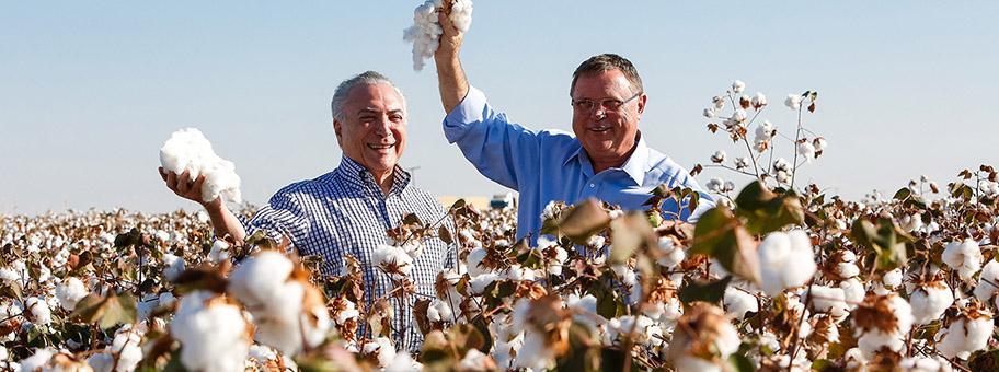 Präsident Michel Temer und Landwirtschaftsminister Blairo Maggi: lassen aus Anlass des Baumwollerntebeginns ein werbeträchtiges Foto von sich machen.