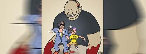 Karikatur von Timo Essner über das Verbot und die Schliessung der InternetPlattform «linksunten.indymedia.org» durch den Bundesinnenminister Thomas De Maizière.