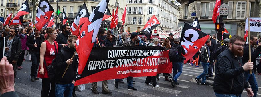Demonstration in Paris gegen die Arbeitsmarktreform von Emmanuel Macron, Oktober 2017.