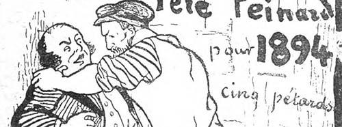 Couverture de l'Almanach du Père Peinard de 1894, et citée dans Le Péril anarchiste (Félix Dubois).