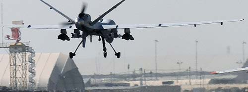 Eine Reaper Drohne der Royal Air Force in Kandahar, Afghanistan.