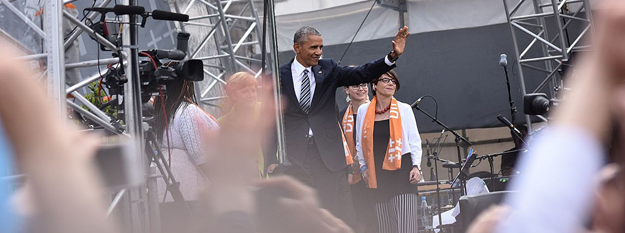 Barack Obama am Kirchentag 2017 in Berlin.