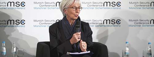 Die geschäftsführende Direktorin des Internationalen Währungsfonds, Christine Lagarde, während der Münchener Sicherheitskonferenz 2018.