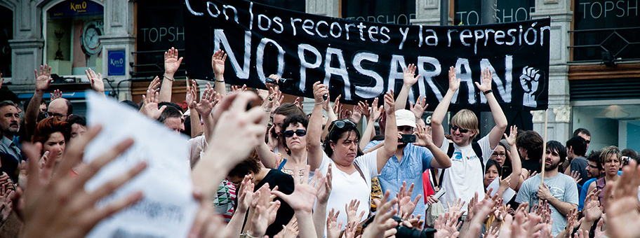 Demonstration der 15M Bewegung (Indignados) in Madrid, Mai 2012.