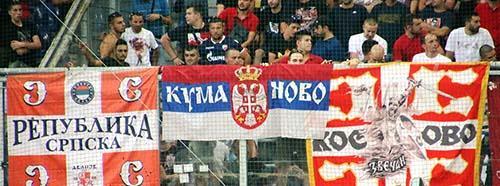 Fans von Roter Stern Belgrad am CLPlayoff Match gegen FC Salzburg, 2018.