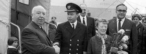 Filmregisseur Alfred Hitchcock in Kiel, Septmeber 1966.