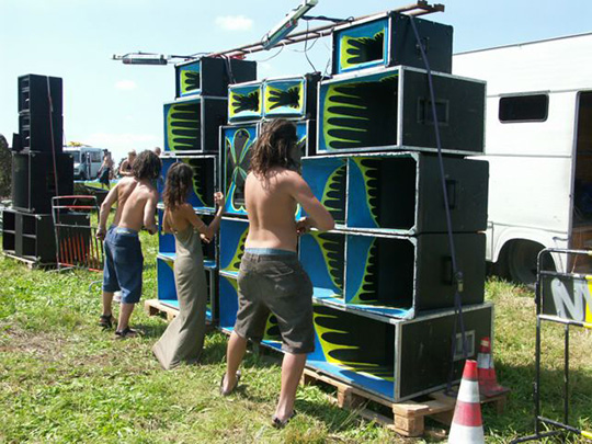 Soundsystem an einer RaveParty in Tschechien.