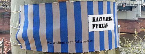 Erinnerung an das KZ Katzbach in Frankfurt am Main durch die Künstlerin Stefanie Grohs, April 2015.