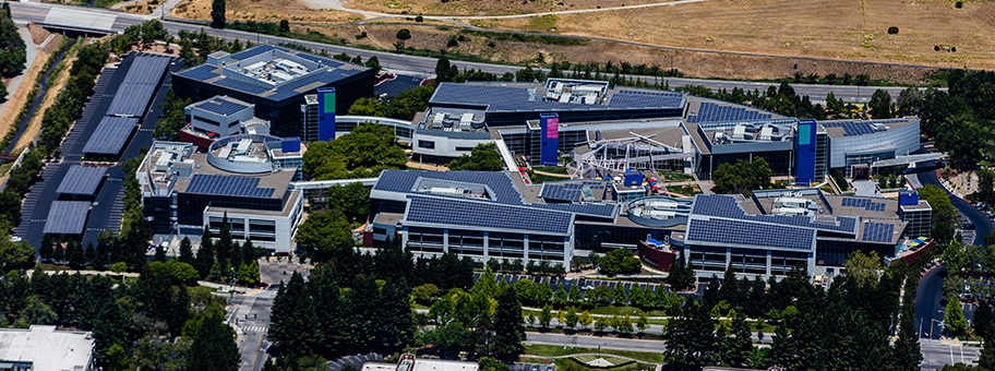 Luftaufnahme des Google Campus in Mountain View, Kalifornien.