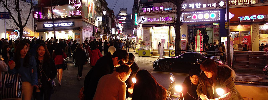Hongdae Party District in Seoul, Südkorea.