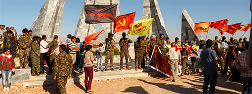 Mitglieder des International Freedom Battalion (IFB) in in Kobanê, Rojava.