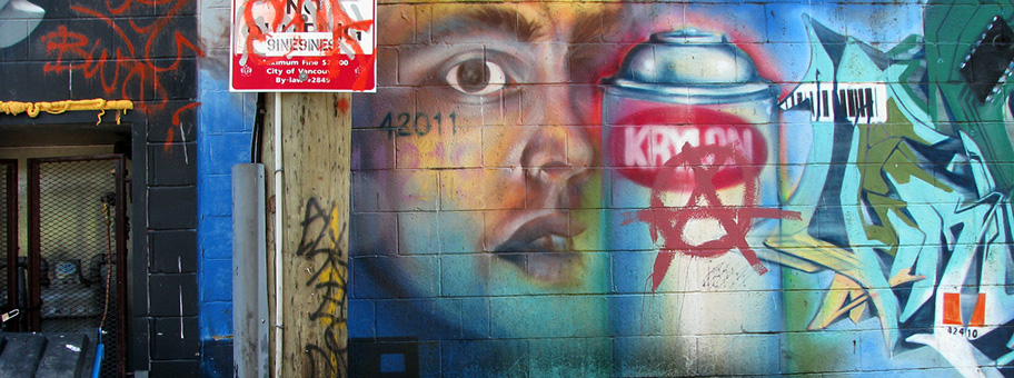 Public art in an alley adjacent to Commercial Drive in Vancouver BC Canada.