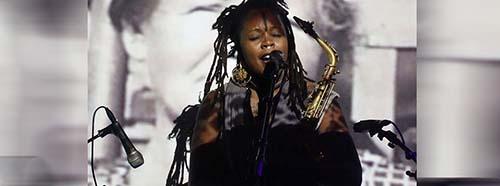 Die USamerikanische Jazzmusikerin Mantana Roberts trat am 3.Tag des Festivals in Berlin auf.