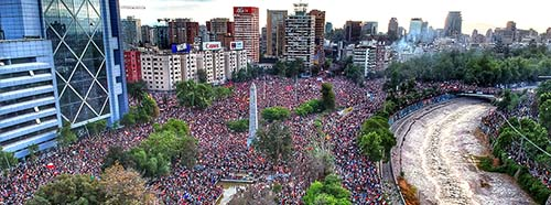 Massenprotest in Santiago de Chile, Oktober 2019.