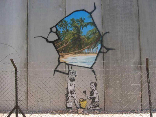 Graffiti von Banksy an der West Bank Mauer in Bethlehem, Israel.