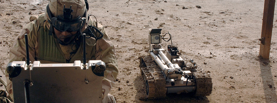 Military robot being prepared to inspect a bomb.