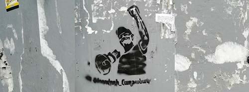 Graffiti mit dem Profil des Politikers und Journalisten Nikol Paschinjan.