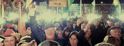 PEGIDA Demonstration in Dresden, März 2015.