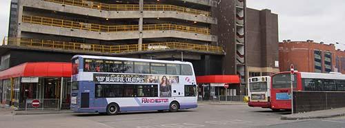 Busbahnhof von Rochdale, England.
