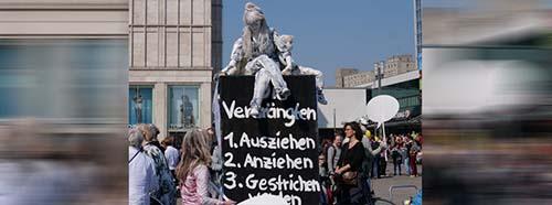 Auftaktkundgebung der Mietenwahnsinn Demonstration im April 2019 in Berlin.