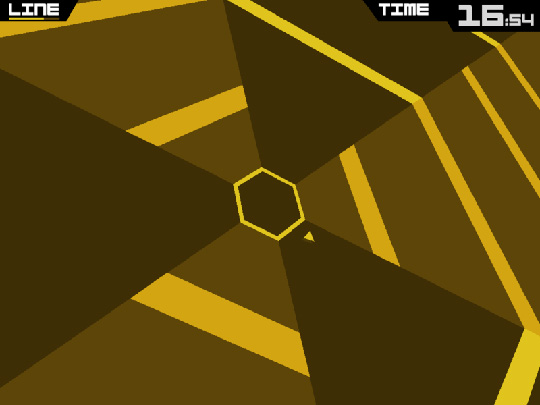 Screenshot vom Videospiel Super Hexagon.