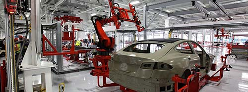 Automatisierte Produktion bei dem USElektroautohersteller Tesla.