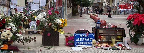Gedenkstelle an den Ermordeten Alexis Grigoropoulos in Athen, Dezember 2008.