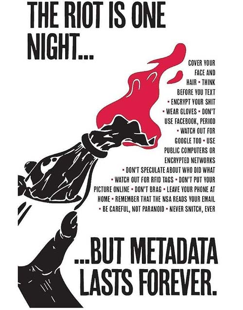 The riot is one night, but metadata lasts forever.